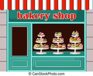 édesség, vektor, bolt, bakery., ábra