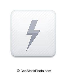éditer, eps10., éclair, vecteur, facile, blanc, icon.