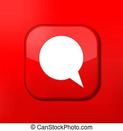 éditer, eps10., vecteur, parole, facile, icon., bulle, rouges