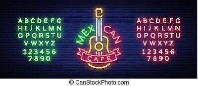 édition, mexicain, bannière, lueur, signe, texte, signe., signe néon, nightly, clair, vecteur, conception, annonce, illustration., symbole, lumineux, café, template., logo, nourriture.