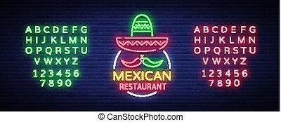 édition, mexicain, bannière, restaurant, signe, texte, signe., signe néon, nightly, clair, vecteur, conception, annonce, illustration., symbole, lumineux, nourriture., template., logo, lueur
