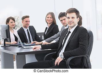 éditorial, fond,  Business, équipe