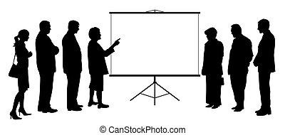 éditorial, présentation, gens, écran, groupe, femme, projection, entraîneur