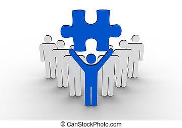 éditorial, tenue, bleu, morceau, ne, puzzle