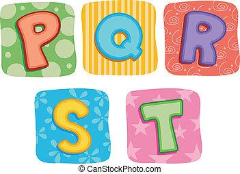 édredon, alphabet, q, p, s, r, t, lettre