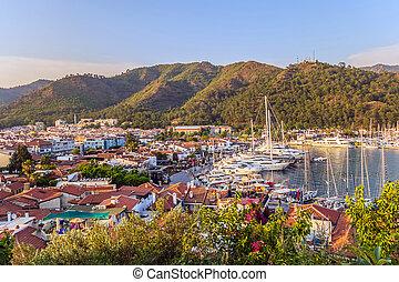 égéen, yacht, turquie, croisière, mer, bateau, voilier, marmaris, jetée