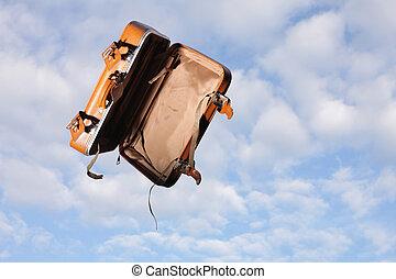 ég, üres, háttér, bőrönd