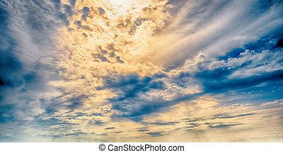 ég, elhomályosul, művészet, napkelte, háttér
