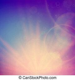 ég, elvont, flare., napnyugta, lencsék