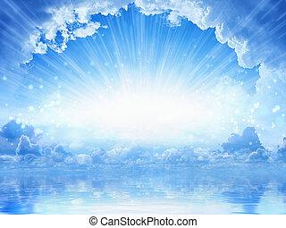 ég, fény, -, háttér, csendes, égi