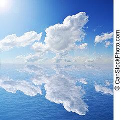 ég, felett, elhomályosul, óceán