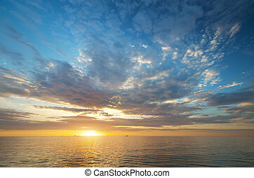 ég, háttér, képben látható, napnyugta