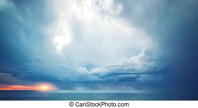 ég, háttér, képben látható, sunset.