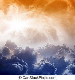 ég, hatásos, forma, kilátás