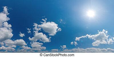 ég, panoráma, ész, csillogó, nap