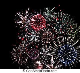 ég, tűzijáték, fekete, ünneplés