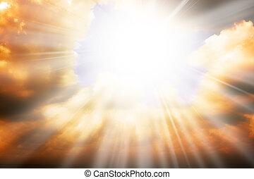 ég, vallás, fogalom, -, nap rays, és, ég
