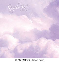 ég, vektor, clouds., rózsaszínű, fehér