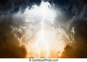 ég, viharos, villámlás