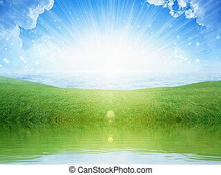 ég, visszaverődés, fény, napvilág, fényes, zöld víz, fű, kaszáló
