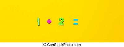 égal, deux, simple, exemple, numbers., bannière, maths, jaune, une, action, étapes, maîtriser, plus, fond, solution., clair, enfants, élémentaire, mathématique, plastique, school., fait, premier