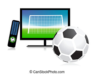 égal football, sur, tv, sports, canal