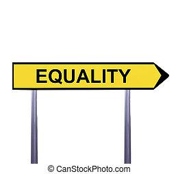 égalité, -, isolé, signe, flèche, conceptuel, blanc