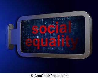 égalité, politique, fond, social, panneau affichage, concept: