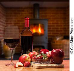 égető, elbocsát, gyümölcs, elülső, vörös bor