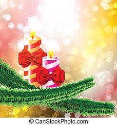 égető, gyertya, fa, két, hajóorr, elágazik, karácsony