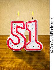 égető, születésnap gyertya, szám, 51