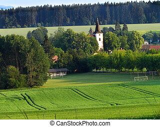 église, été, football, campagne, pas, vallonné, tour, village, vue