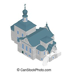 isom trique 3d mariage ic ne chapelle mignon isom trique glise illustration ou. Black Bedroom Furniture Sets. Home Design Ideas