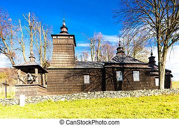 église bois, pologne, leluchow