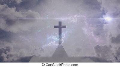 église, ciel bleu, croix, fond