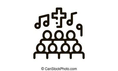 église, concert, icône, chœur, chanson chanteur, animation