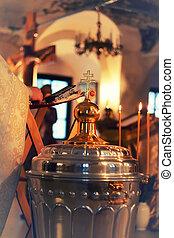 église, croix, service, icônes