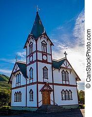 église, dans, husavik, islande