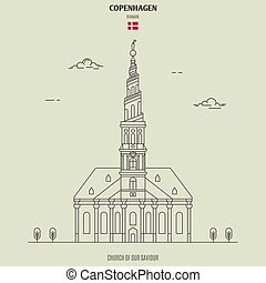 église, denmark., sauveur, copenhague, repère, notre, icône