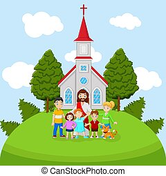 église, dessin animé, jésus, enfants