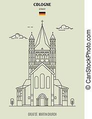 église, germany., cologne, martinet, repère, grand, icône, rue.