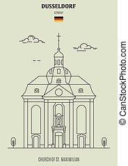 église, germany., maximilian, repère, dusseldorf, icône, rue.