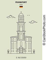 église, germany., paul, francfort, repère, icône, rue.