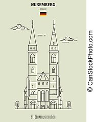 église, germany., repère, icône, nuremberg, sebaldus, rue.