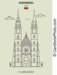 église, germany., repère, lawrence, icône, nuremberg, rue.