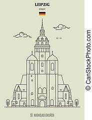 église, germany., repère, leipzig, nicolas, icône, rue.