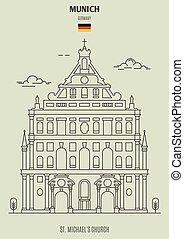 église, germany., repère, munich, icône, michael's, rue.