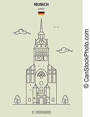 église, germany., repère, munich, peter, icône, rue.