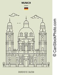 église, germany., repère, munich, st.cajetan, icône