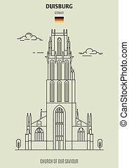 église, germany., repère, sauveur, icône, notre, duisburg